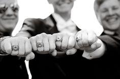 Groom and groomsmen with Citadel rings