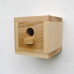 Birdhouse, wooden bird house, modern, craftsman, minimalist design - square