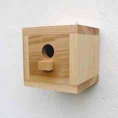 Birdhouse, wooden bird house, modern, craftsman, minimalist design - square