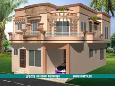 House front elevation design, view, interior design images in Pakistan. 5 Marla, 10 Marla, 1 Kanal house designs ideas pictures in Pakistan - Waris. Interior Design Images, House Design Photos, House Front Design, Small House Design, Classic House Design, Minimalist House Design, 10 Marla House Plan, Circle House, Modern Bungalow House