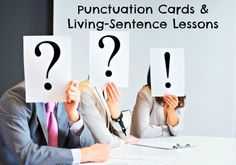 """Get students actively involved in sentence variety lessons by conducting """"living sentence"""" role play challenges. (Punctuation cards and four lessons) 10 slides: Free"""