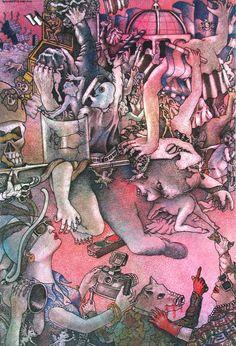 """Dagoberto NOLASCO : de la serie """"Los Patriotas"""" ; Agosto 1988 ; 24,5cm x 16,5cm ; tinta sobre papel ; colección MDAA (adquirido en 1988 del artista)"""