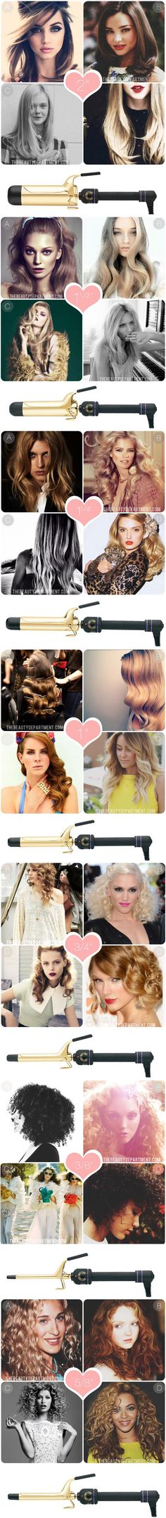 What does each curling iron do? Explanation of uses and also how to accomplish each style shown in the photos. #thebeautydept