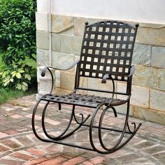 Wrought Iron Nail Head Patio / Porch Rocking Chair In Brown Finish