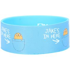 Hot Topic Adventure Time Jake's In Here Rubber Bracelet ($5.25) ❤ liked on Polyvore featuring jewelry, bracelets, blue, blue jewelry, rubber bangles, rubber jewelry and blue bangles