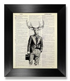 Deer ART Gift Man Home OFFICE Decor Stag DEER Wall by MEOWconcept
