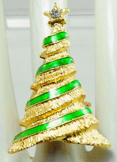 Christmas Tree Statement Ring/Gold/Green/Holiday/Christmas