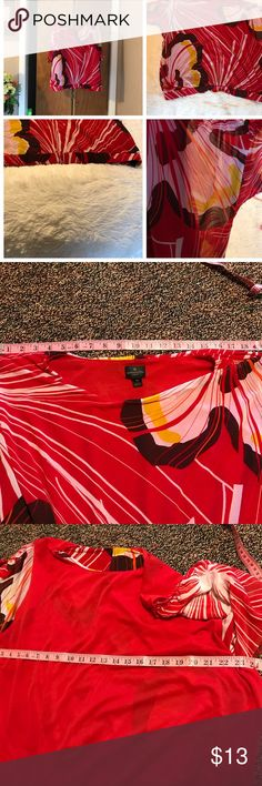 "🌺Plus Size Worthington Woman Bubble Blouse🌺 🌺Worthington Woman 🌺Excellent Condition 🌺This Blouse Has A Red Tank Lining With A Sheer Floral Abstract Overlay And Sheer Gathered Sleeves. 🌺Reference Photographs: Approximate Measurements: Shoulders 19"" Bust 24"" Sleeve 7"" Length 22"" 🌺Body 100% Polyester Lining 100% Polyester 🌺I Turned The Blouse In Side Out In An Effort To Get The Most Accurate Measurements, You Can See From These Photographs The Red Lining. Worthington Woman Tops Blouses"