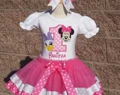 Minnie Mouse and Daisy Duck Birthday Satin Ribbon Tutu-Personalized Birthday Tutu,Sizes 6m - 14/16