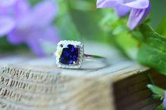 Blue Sapphire Ring Blue Sapphire Promise Ring Sapphire Engagement Ring September Birthstone Ring Wedding Ring Sapphire Halo Engagement Ring