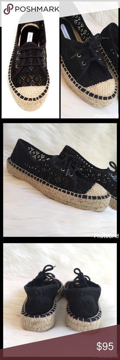 "CROCHETED LACE-UP ESPADRILLES With chunky espadrille soles, these crocheted lace-up bohemian cool with a city twist will keep you looking chic! ▪️Round woven cap toe ▪️Crochet construction ▪️Lace-up vamp ▪️Leather and woven lined insole ▪️Espadrille platform ▪️1.25"" platform ▪️Rubber sole ▪️Made in Spain  ▪️Fits true to size  🛍 2+ BUNDLE=SAVE  ‼️NO TRADES  💯 Brand Authentic  ✈️ Ship Same Day--Purchase By 2PM PST  🖲 USE BLUE OFFER BUTTON TO NEGOTIATE   ✔️ Ask Questions Not Answered In…"