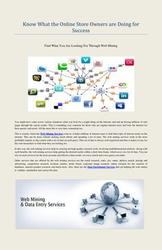 web-mining-services-web-research-services by jones wilson via Slideshare