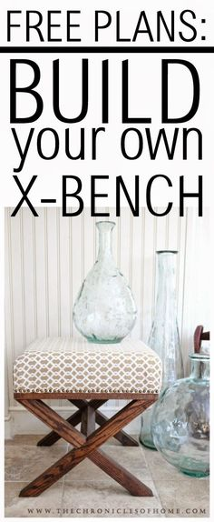 Free plans to build your own contemporary X bench. Great DIY furniture idea!