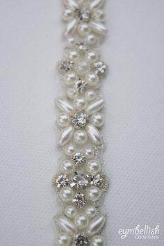 Full Length Pearl and Crystal Rhinestone Bridal Belt All the Bead Embroidery Patterns, Hand Embroidery Designs, Beaded Embroidery, Rhinestone Belt, Crystal Rhinestone, Bridal Accessories, Wedding Jewelry, Bridesmaid Belt, Motifs Perler