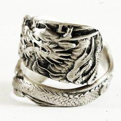 Asian Dragon Ring Spoon Ring Sterling Silver Dragon Ring