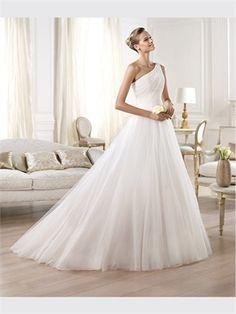 White Ball One Shoulder Organza 2014 Wedding Dresses AWD420355
