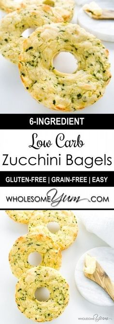 6-Ingredient Zucchini Bagels (Low Carb, Gluten-free) - These chewy zucchini bagels are low carb, gluten-free, nut-free, and made with only six ingredients.
