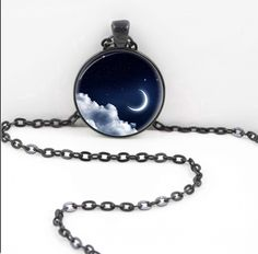 Celestial Moon Necklace, Full Moon Pendant, Full Moon Pagan Wiccan Gypsy Jewelry Halloween  Moon12 by PurplePixieCrafts on Etsy