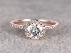 1.25ct brilliant Moissanite Engagement ring Rose gold,Diamond wedding band,14k,7mm Round Cut,Gemstone Promise Bridal Ring,Halo,Anniversary by popRing on Etsy https://www.etsy.com/listing/265674065/125ct-brilliant-moissanite-engagement