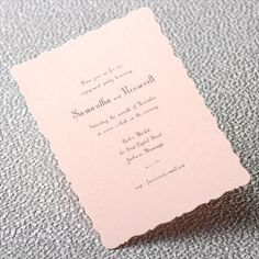 Like the antique dresser you adore (grandmother had exquisite taste), this delightfully romantic invitation is distinguished by its charming curved edges, hinting at a most enchanting celebration.