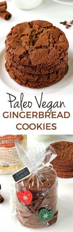 Paleo gingerbread cookies that have crisp edges and chewy centers! With a vegan option. Easy to make and no rolling out required.