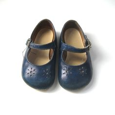 Vintage Leather Clarks Surestep Baby Toddler Shoes Navy Blue Mary Jane
