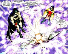 Batman and Robin: I believe it's Dick because of Damian's reaction...