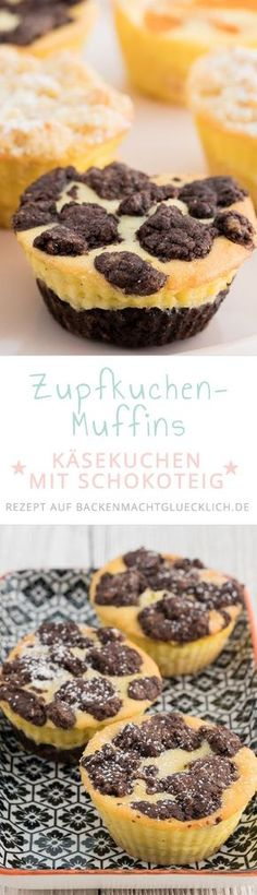 Käsekuchen-Muffins Basic recipe for quick cake cakes with sprinkles. Chocolate, crunchy, creamy and so delicious!