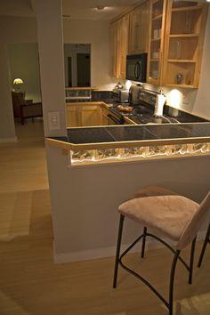 Glass Block backsplash under bar