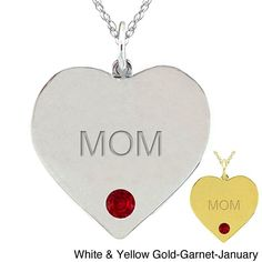 10k Gold Birthstone Engraved 'mom' Heart Necklace (Yellow Gold- Blue Topaz- March), Women's, Size: 18 Inch