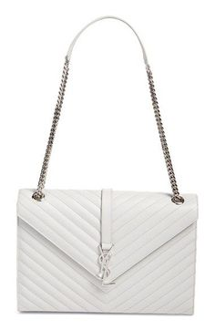 Saint Laurent 'Monogram' Chevron Quilted Leather Shoulder Bag available at #Nordstrom