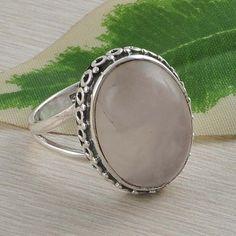 SOLID 925 STERLING SILVER ANTIQUE ROSE QUARTZ RING 5.96g DJR2523 SIZE 7 #Handmade #Ring