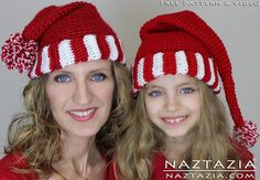 Free Pattern - Easy Crochet Santa Hat Elf Hat Pixie Hat for Babies Kids Children and Adults with YouTube Tutorial Video by Naztazia