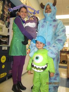 Monsters Inc costumes for family of 4 Boo, Mike, Sully, and Cilia. FUN!! lol