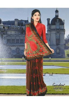 Buy Circle of Joy #Red Crepe Saree with Large Circles Online at Just Rs.1,211/- @ Best Low Price