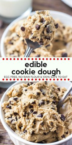 If you love cookie dough then you need to try this edible cookie dough. It's made without eggs and no raw flour, so it's completely safe to eat. So get out your spoon and pour yourself a cold glass of milk - because this eggless cookie dough is delicious. Cookies Receta, Edible Cookies, Fun Baking Recipes, Sweet Recipes, Cooking Recipes, Easy Dip Recipes, No Bake Recipes, Easy Microwave Recipes, Pb2 Recipes