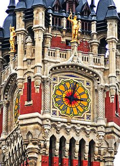 Belfry of Calais, France ~ Construction began in 1912 & the town hall with it's ornate belfry opened in 1925 ~ Architect: Louis Debrourwer ~ It is one of the 56 historical buildings belonging to the group of belfries in Belgium & France, designated by UNESCO as a World Heritage Site,