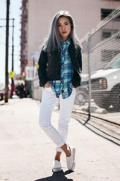 Summer Outfit Guide: What to Wear With White Jeans This Summer - A silver haired fashion blogger wearing her white jeans with a flannel top, slip-on sneakers, and a cool jacket.