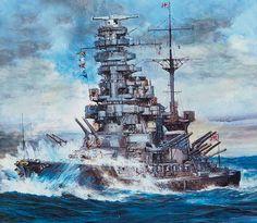 Acorazado japonés de clase Ise, botado en 1917, con un desplazamiento de 31.000 toneladas y una eslora de 206 metros. Armado con 12 cañones de 356 mm en 6 torretas dobles, 20 cañones de 40 mm, 4 cañones antiaéreos de 80 mm y 6 tubos lanzatorpedos de 530 mm colocados bajo su línea de flotación. Su tripulación constaba de 1.333 hombres y tras su conversión a híbrido podía transportar hasta 22 aviones.
