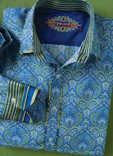 Robert Graham MULIN Green/Blue Paisley Shirt, Style RS08121, Spring 2008