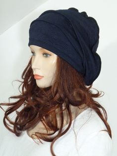 016c7080530 Fearlessly stylish high quality dark navy blue hexagon quilted cloque  slouchy beanie hat ( ideal chemo hat)