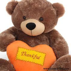 Sunny Cuddles Mocha Thanksgiving Bear with Plush Orange Heart 38in $99.99 http://www.giantteddy.com