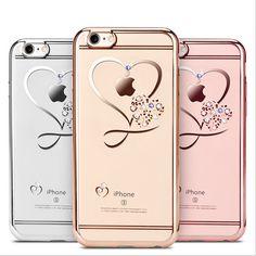 Voor iphone 6 case ultra dunne schoon tpu crystal telefoon gevallen rose gold plating glitter diamond cover voor iphone 6 6 s 6 plus