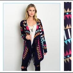 "Unique Tribal Tassel Cardigan Sweater OMGoodness...Such a unique tribal aztec hi low cardigan sweater with tassel detail. Keep warm & cozy on cool summer nights on the shore with this nice thick knit colorful cardi in navy, pink, tan, white & aqua blue NWOT Sizes run large to fit over clothing Front Length 32"" Back Length 23"" Sweaters Cardigans"
