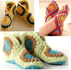 African Flower slippers (2) Crochet Slipper Pattern, Crochet Slippers, Crochet Patterns, Spa Slippers, African Flower Crochet Animals, Crochet Flowers, Grannies Crochet, Crochet Baby, Crochet Crafts