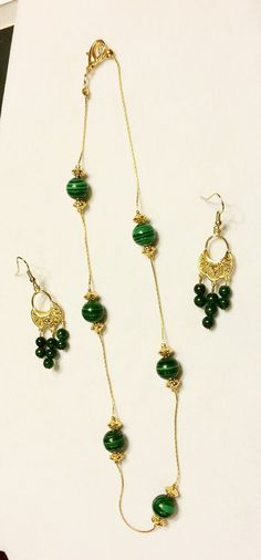 f478ef12866e Items similar to Classic Malachite Necklace   Earring Set on Etsy
