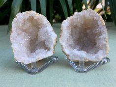 Natural-Geode-Pair-W-Stand-Geode-Crystal-Quartz-Druze-Specimen-Morocco-Geode