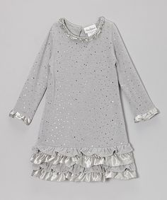 Take a look at this Silver Sparkle Ruffle Dress - Girls on zulily today!