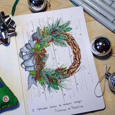 Ну вот и продолжаем #акварельнаязима правда в маркерном исполнение. Рисовать каждый день это весело, по плану еще олень с гирляндами✨Может это перерастёт во что то большее и я буду рисовать каждый день Ну а пока рождественский венок, что может быть более атмосферно?☃❄️#liner #finecolour #fabercastell #marker #markers #sketch #sketchbook #leuchtturm1917 #kalachevawebinar #copic #christmasmood #christmaswreath #wreath #color #kalachevaschool