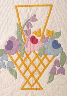 Flower basket applique, 1941, signed and dated.  Seen at Ohio auction.